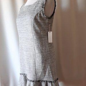 Dex NWT Grey Boucle Dress With Flounce Size XL